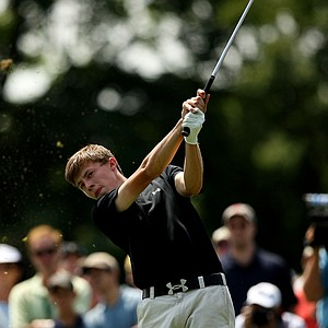 Matt Fitzpatrick during the semifinals at the 2013 U. S. Amateur at The Country Club.