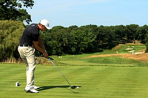 Oliver Goss during the semifinals at the 2013 U. S. Amateur at The Country Club.
