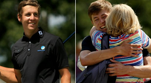 Oliver Goss (left) and Matthew Fitzpatrick (getting a hug from mom, Sue) will face of in Sunday's 36-hole U.S. Amateur final at The Country Club.