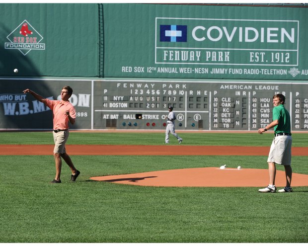 U.S. Amateur finalists Oliver Goss and Matthew Fitzpatrick throw out ceremonial first pitches at the Boston Red Sox vs. New York Yankees game on Saturday evening.