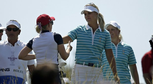 Anna Nordqvist aced the par-3 17th and, together with Caroline Hedwall, won a point for Europe.