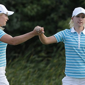 Charley Hull and Jodi Ewart Shadoff made up an all-rookie pairing for the Europeans, and won a point in their match against Paula Creamer and Lexi Thompson.