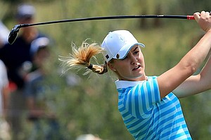 Europe's Charley Hull plays her second shot on the first hole during Saturday's afternoon four-ball matches at the Solheim Cup.