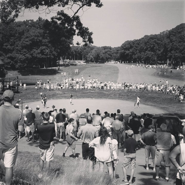A view of hole No. 9 during the semifinals at the 2013 U. S. Amateur at The Country Club.