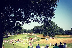Hole No. 8 during the semifinals at the 2013 U. S. Amateur at The Country Club.