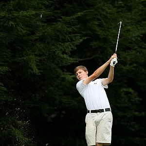 Matt Fitzpatrick hits his tee shot at No. 6 during first 18 holes of the finals at the 2013 U. S. Amateur at The Country Club.