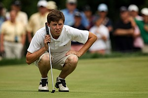 Matt Fitzpatrick during the first 18 holes of the finals at the 2013 U. S. Amateur at The Country Club.(