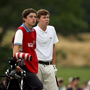 Matt Fitzpatrick and his brother Alex during the finals at the 2013 U. S. Amateur at The Country Club.