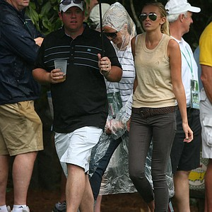 Paulina Gretzky walks the course during the second round of the 2013 Masters Tournament at Augusta National Golf Club.