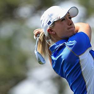 Jodi Ewart-Shadoff of England and the European team takes her tee shot on the second hole during the final day singles matches of the 2013 Solheim Cup.