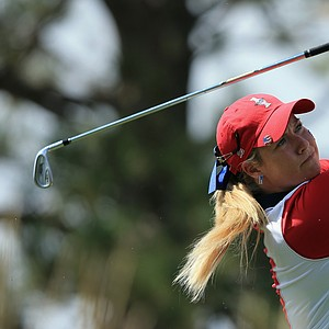 Brittany Lincicome of the United States team takes her tee shot on the second hole during the final day singles matches of the 2013 Solheim Cup.