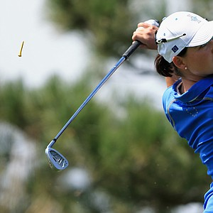 Caroline Masson of Germany and the European team hits her tee shot on the second hole during the final day singles matches of the 2013 Solheim Cup.