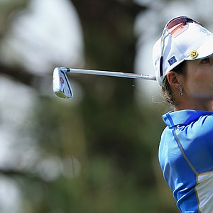 Beatriz Recari of Spain and the European team hits her tee shot on the second hole during the final day singles matches of the 2013 Solheim Cup.