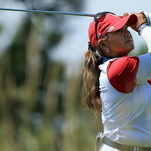 Lizette Salas of the United States team hits her tee shot on the second hole during the final day singles matches of the 2013 Solheim Cup.