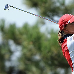 Angela Stanford of the United States team hits her tee shot on the second hole during the final day singles matches of the 2013 Solheim Cup.
