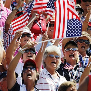 Fans cheer for the U.S. at the first tee prior to the state of singles matches at the Solheim Cup.
