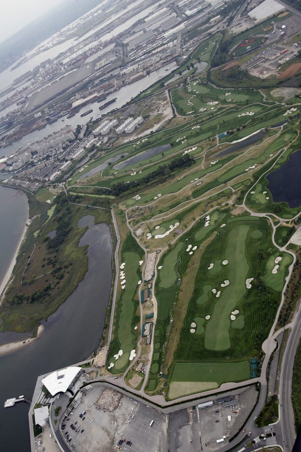 An aerial of Liberty National, site of the Barclays.