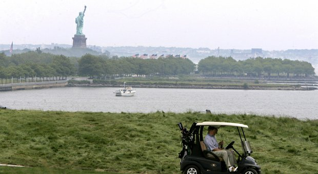 The Statue of Liberty is visible at Liberty National.