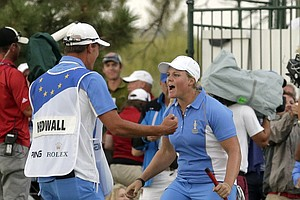 Caroline Hedwall exclaims after sinking the putt that ensured Europe would retain the Solheim Cup in 2013 at Colorado Golf Club.