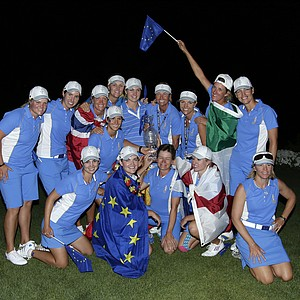 The European team poses after its victory in the 2013 Solheim Cup at Colorado Golf Club.