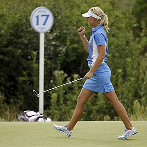 Anna Nordqvist celebrates a birdie during singles play in the 2013 Solheim Cup at Colorado Golf Club.