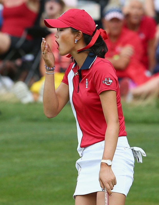 Michelle Wie during Sunday singles in the 2013 Solheim Cup at Colorado Golf Club.