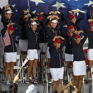 The U.S. team salutes their captain, Meg Mallon, during closing ceremonies for the 2013 Solheim Cup at Colorado Golf Club.