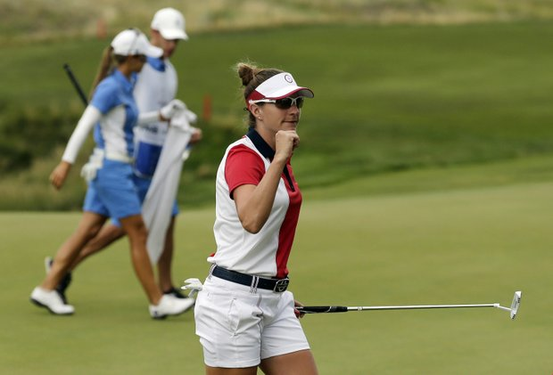 Brittany Lang during Sunday singles in the 2013 Solheim Cup at Colorado Golf Club.