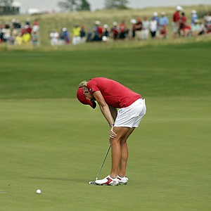 Stacy Lewis after missing a birdie putt at No. 17 during Sunday singles in the 2013 Solheim Cup at Colorado Golf Club.