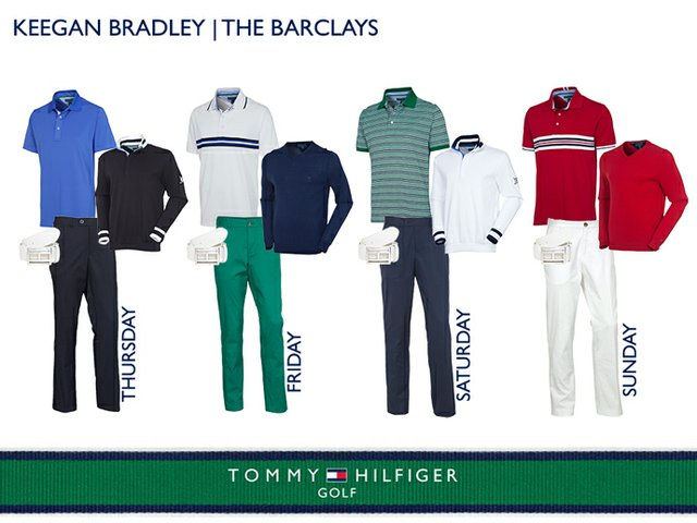 Keegan Bradley's scripted apparel for The Barclays.