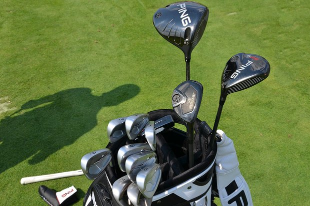 Hunter Mahan switched to Ping's new S55 irons this week at Liberty National, but is still using the company's G25 driver and 3-wood, along with an Anser hybrid.