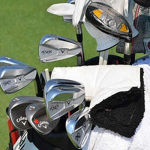 Stuart Appleby's Callaway Razr X Muscleback irons gleam under the sun at Liberty National on Wednesday afternoon.