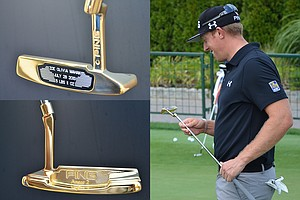 Hunter Mahan was given a gold-plated Scottsdale TR Anser 2 putter to commemorate the birth of his daughter, Zoe. At the time, he was leading the RBC Canadian Open but left moments before the start of the third round upon learning that his wife had gone into labor.