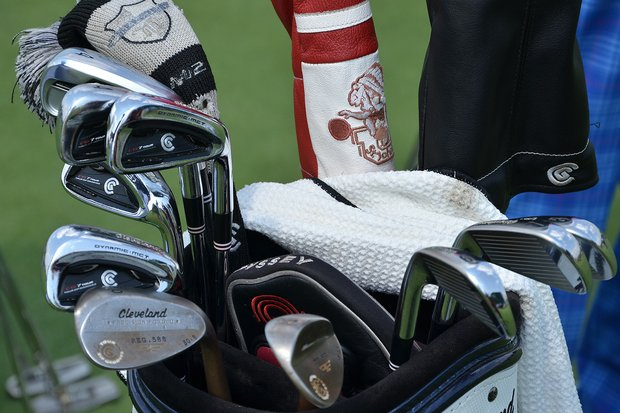 Keegan Bradley has Cleveland CG7 Tour irons in his bag and a St. John's University headcover on his fairway wood.