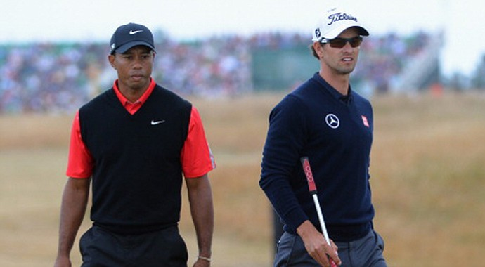 Tiger Woods and Adam Scott
