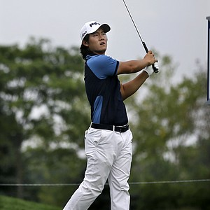 Richard H. Lee during the first round of the 2013 Barclays at Liberty National.