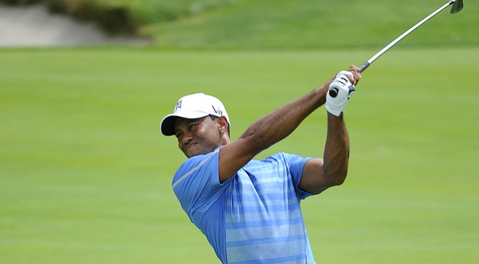 Tiger Woods during the first round of the 2013 Barclays, part of the PGA Tour's FedEx Cup, at Liberty National.