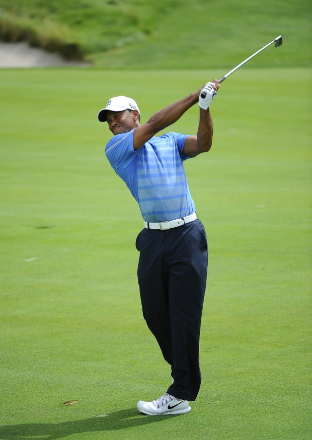 Tiger Woods during the first round of the 2013 Barclays at Liberty National.