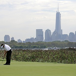 Phil Mickelson during Friday play at The Barclays at Liberty National, the first event of the 2013 FedEx Cup.