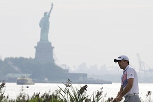 Martin Laird during Friday play at The Barclays at Liberty National, the first event of the 2013 FedEx Cup.