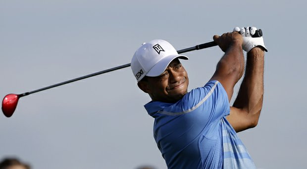 Tiger Woods during the first round of The Barclays at Liberty National, the first event of the 2013 FedEx Cup.