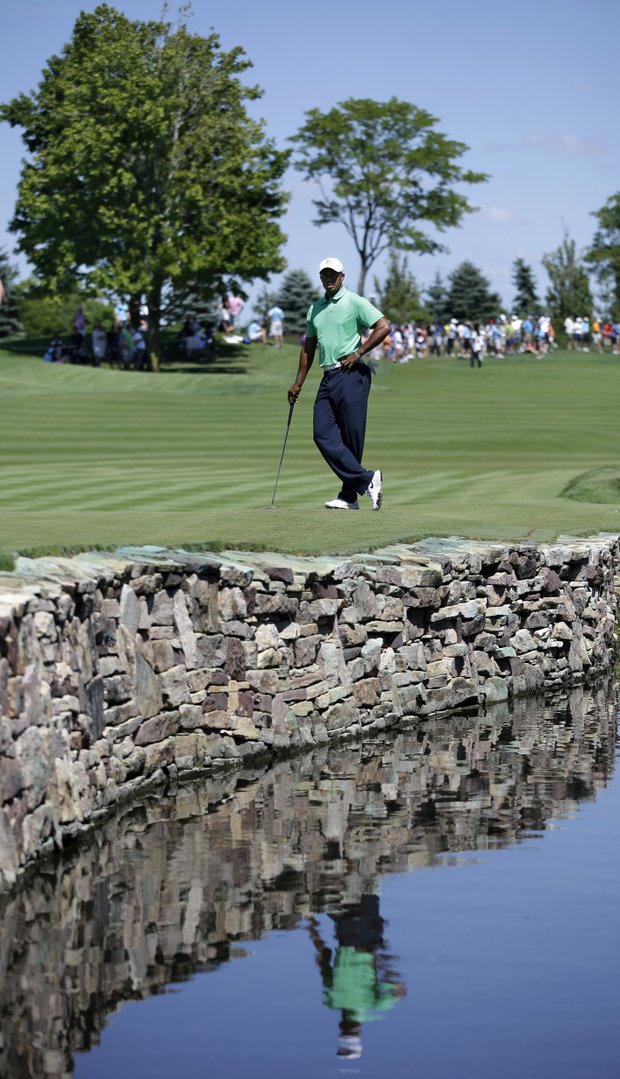 Tiger Woods during Saturday play at Liberty National in The Barclays, the first event of the PGA Tour's 2013 FedEx Cup.