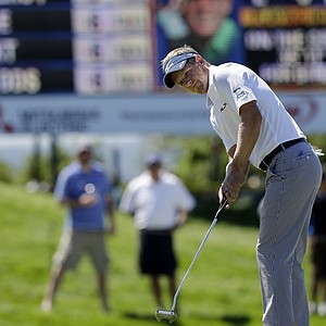 Luke Donald during Saturday play at Liberty National in The Barclays, the first event of the PGA Tour's 2013 FedEx Cup.