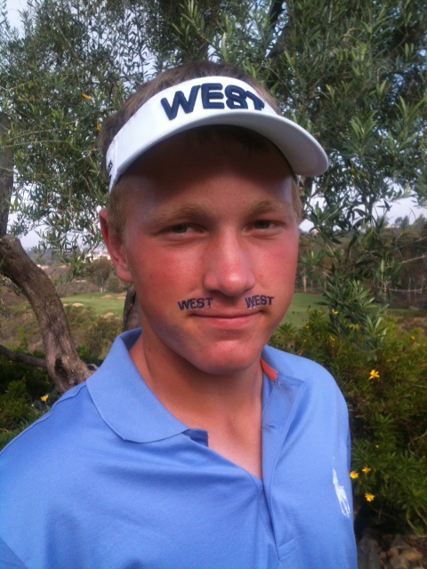Brad Dalke shows his support for the West team at the AJGA Wyndham Cup.