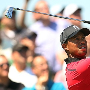 Tiger Woods during the final round of The Barclays, the first event of the 2013 FedEx Cup playoffs, at Liberty National.