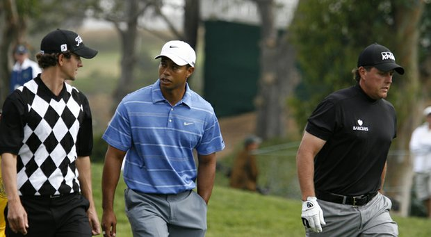 Adam Scott (from left), Tiger Woods and Phil Mickelson at the 2008 U.S. Open.