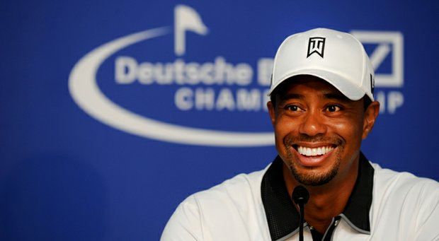 Tiger Woods speaks to the media during his press interview after his pro-am round at the Deutsche Bank Championship at TPC Boston.