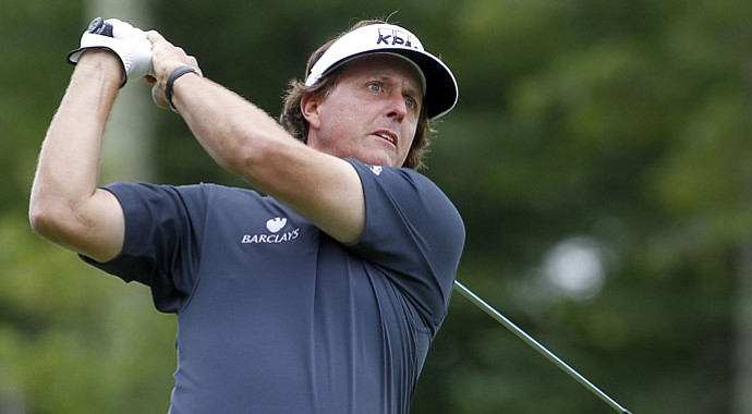 Phil Mickelson during the first round of the Deutsche Bank Championship Friday at TPC Boston.