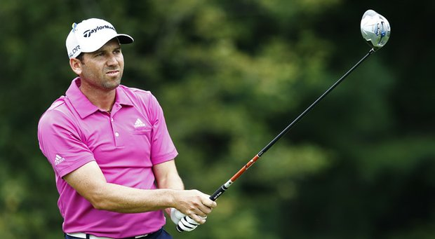 Sergio Garcia plays his shot from the 14th tee during the second round of the Deutsche Bank Championship.