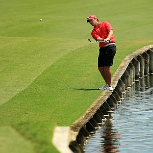George Cunningham hits a shot from short of the green at No. 18 during the final round of the Junior Players Championship at TPC Sawgrass.